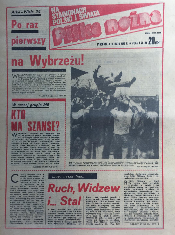 Okładka piłki nożnej po finale Pucharu Polski Arka - Wisła (09.05.1979)
