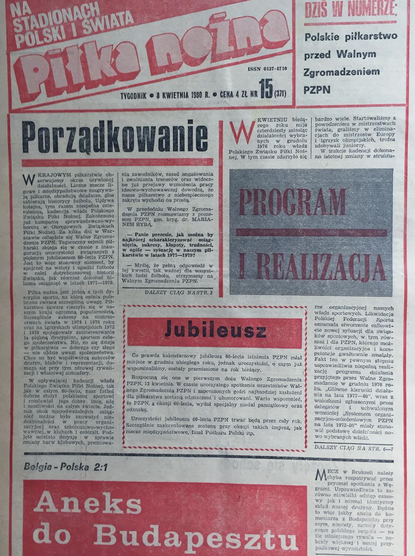 Okładka piłki nożnej po meczu belgia - Polska (02.04.1980)