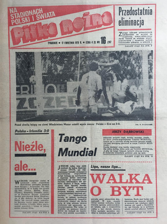 Okładka piłki nożnej po meczu Polska - Irlandia 3:0 (12.04.1978)