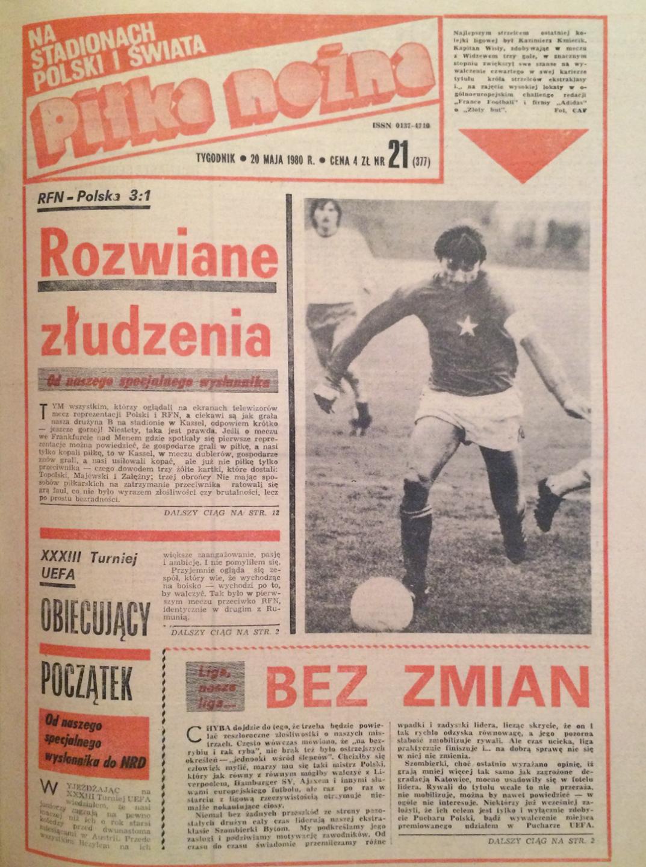 Okładka piłki nożnej po meczu RFN - Polska (13.05.1980)