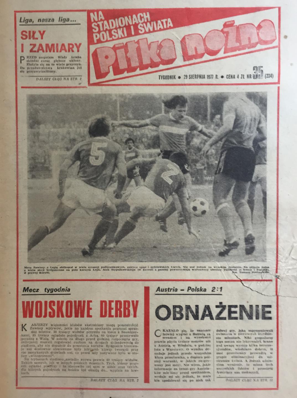 Okładka piłki nożnej po meczu Austria - Polska 2:1 (07.09.1977)