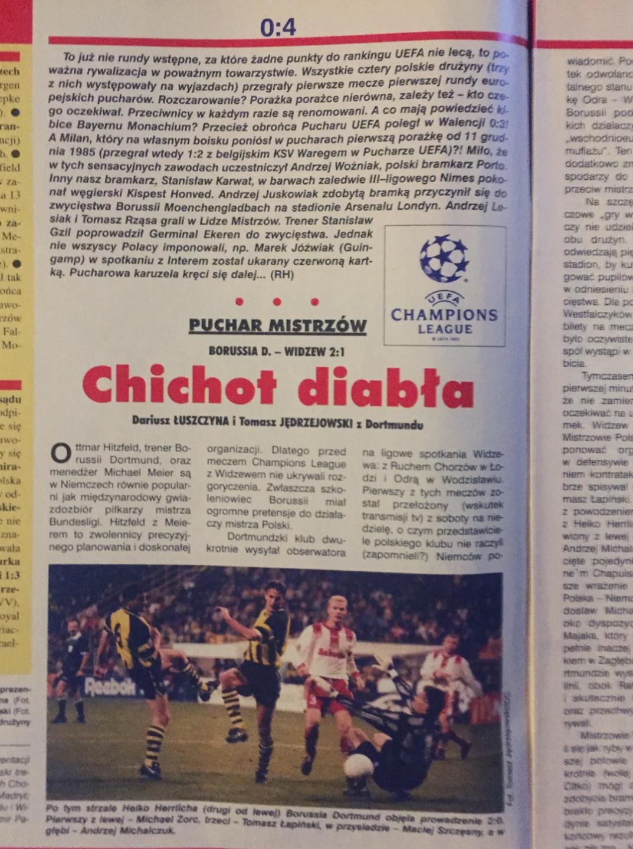 piłka nożna po meczu borussia d. - widzew (11.09.1996)