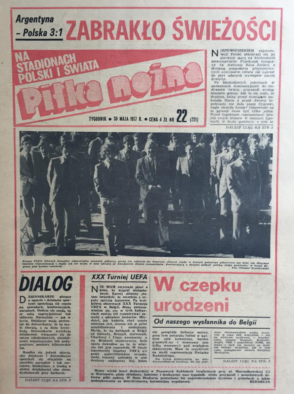 Okładka piłki nożnej po meczu argentyna - polska 3:1 (29.05.1977)