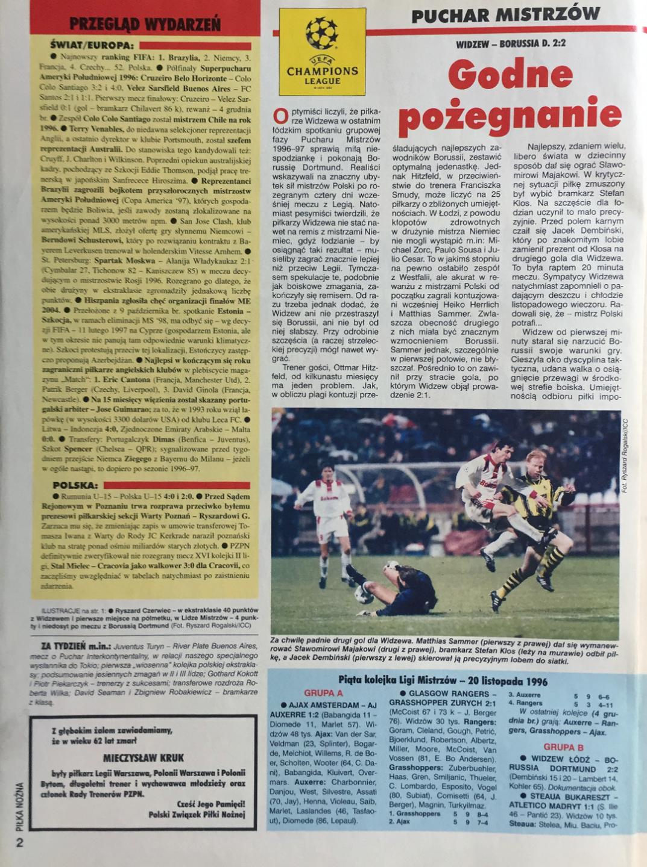 Piłka nożna po meczu widzew - borussia (20.11.1996)