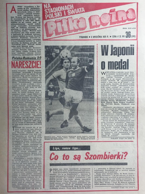 Okładka piłki nożnej po meczu Polska - Rumunia (29.08.1979)