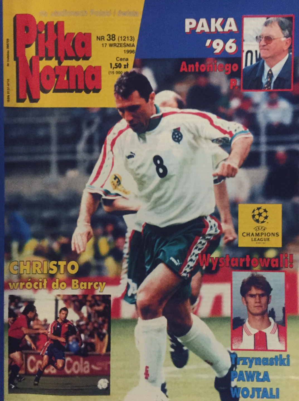 Okładka piłki nożnej po meczu borussia d. - widzew (11.09.1996)