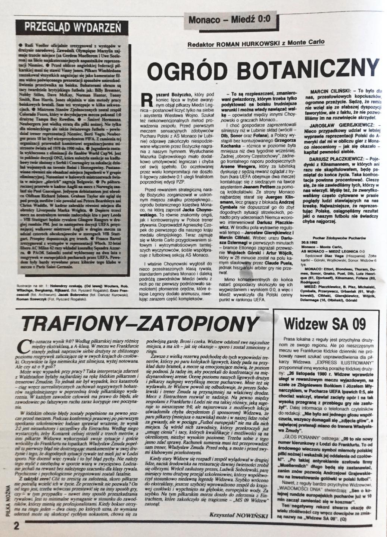 Piłka nożna po meczu Eintracht - Widzew (30.09.1992)
