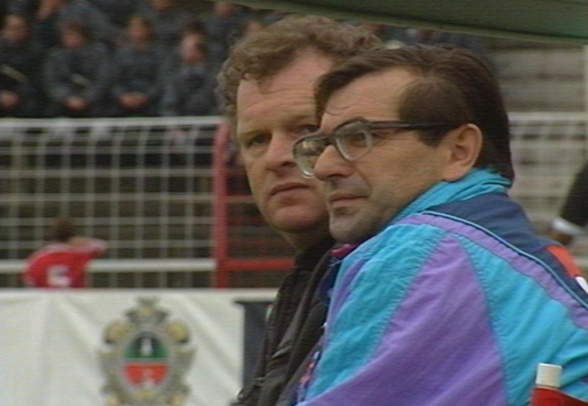Władysław Żmuda i Andrzej Grajewski podczas meczu Widzew Łódź - Eintracht Frankfurt 2:2 (16.09.1992).