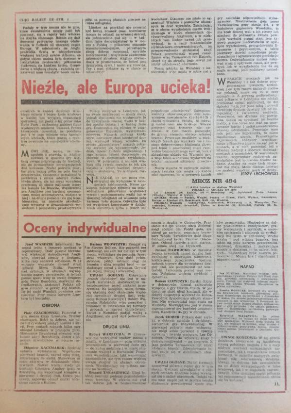 Piłka nożna po meczu anglia - polska (17.10.1990)
