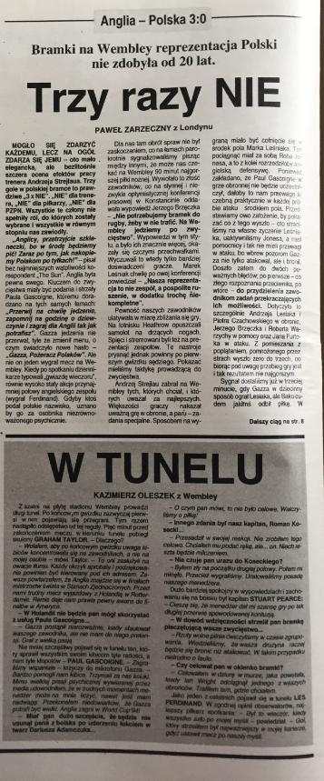 piłka nożna po meczu anglia - polska (08.09.1993)
