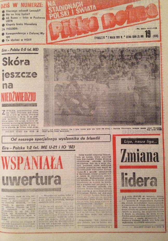 Okładka piłki nożnej po meczu irlandia - polska (01.05.1991)