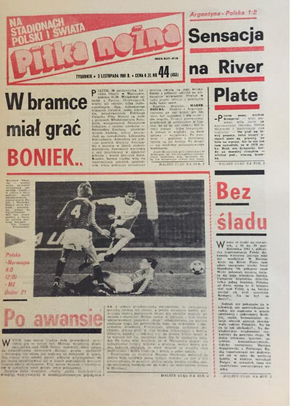 piłka nożna po meczu argentyna - Polska (28.10.1981)