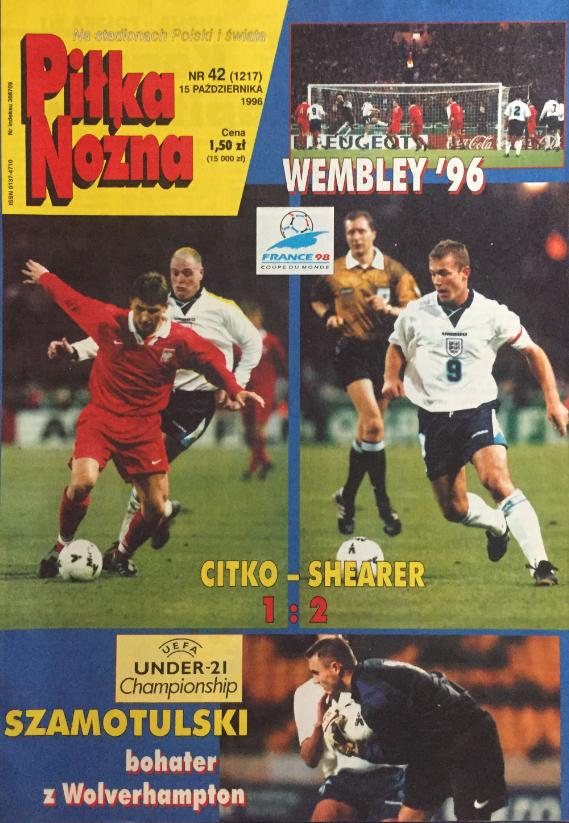 okładka połki nożnej po meczu anglia - polska (09.10.1996)
