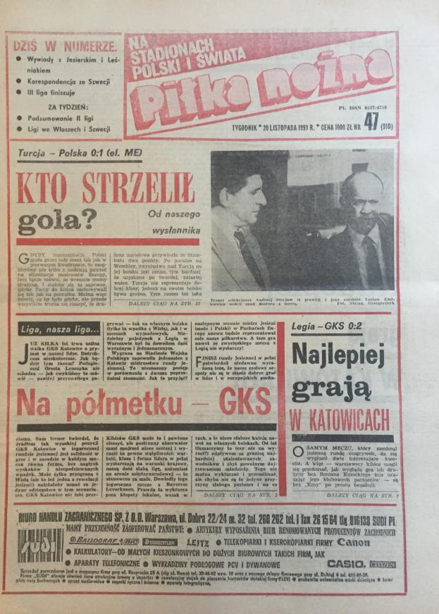 Piłka nożna po meczu turcja - polska (14.11.1990)