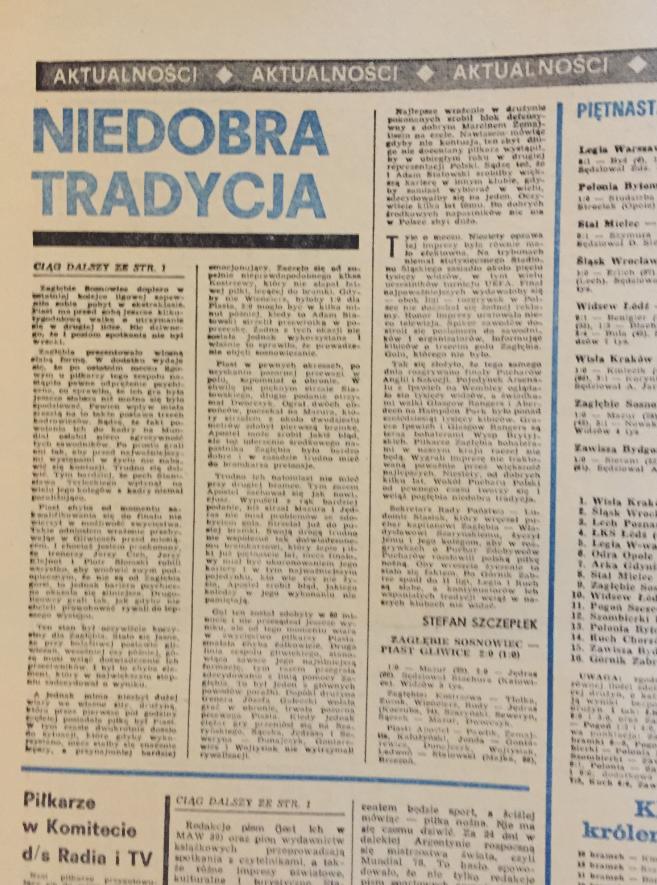 Piłka nożna po meczu zagłębie - piast (06.05.1978)