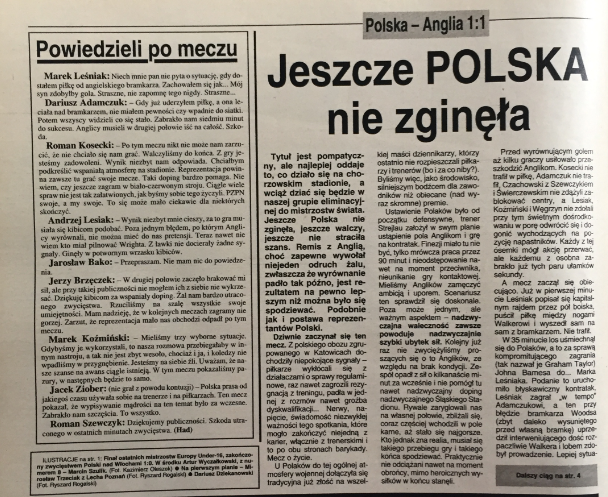 Piłka nożna po meczu polska - anglia (29.05.1993)