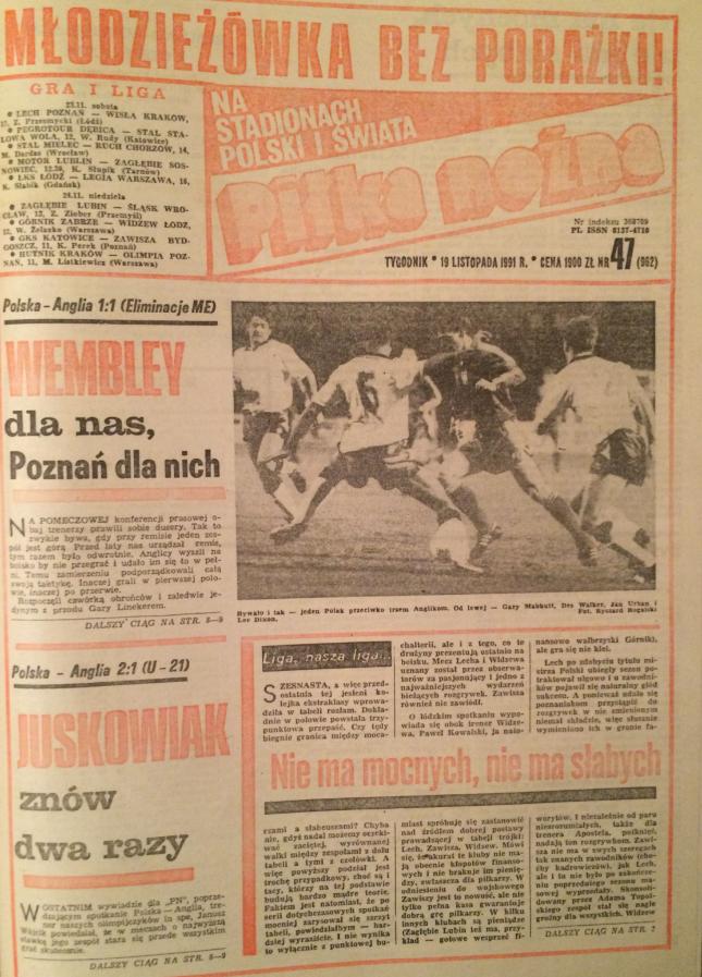 Piłka nożna po meczu polska - anglia (13.11.1991)