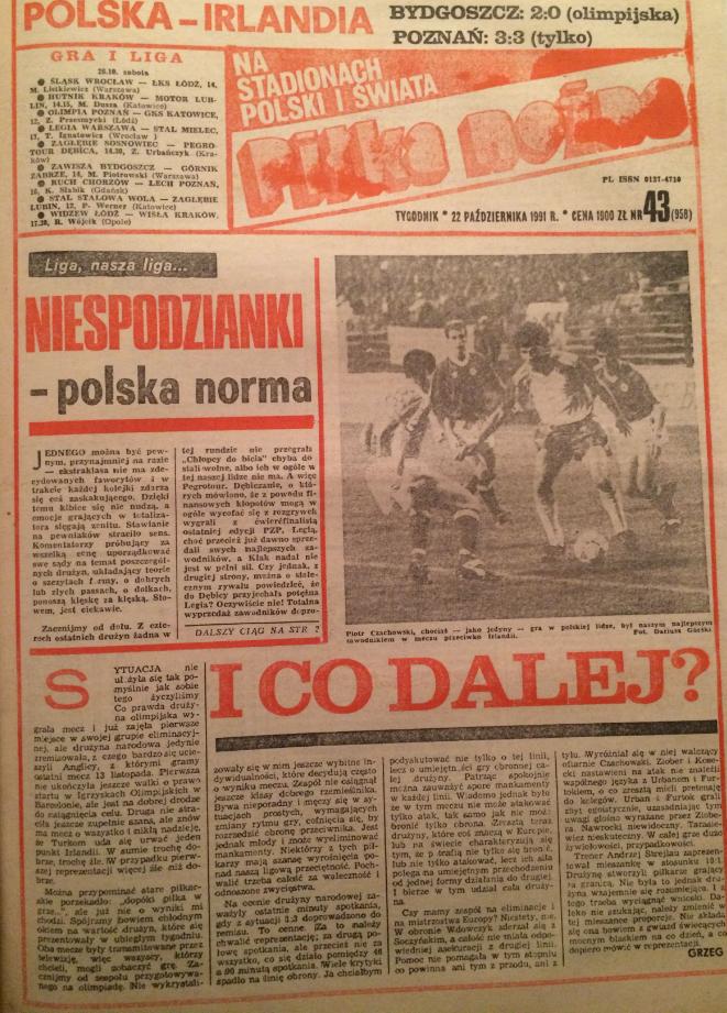 Piłka nożna po meczu polska - irlandia (16.10.1991)