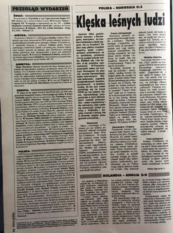 piłka nożna po meczu norwegia - polska (13.10.1993)