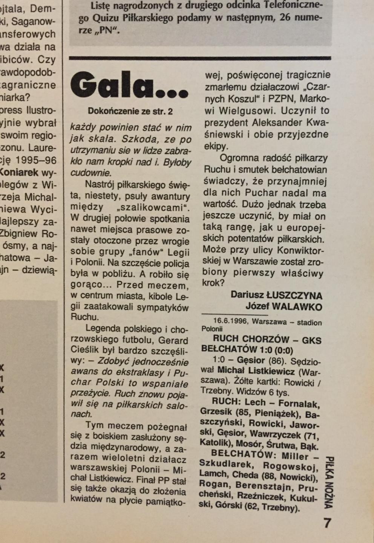 """Ruch Chorzów - GKS Bełchatów 1:0 (16.06.1996) Tygodnik """"Piłka Nożna"""""""