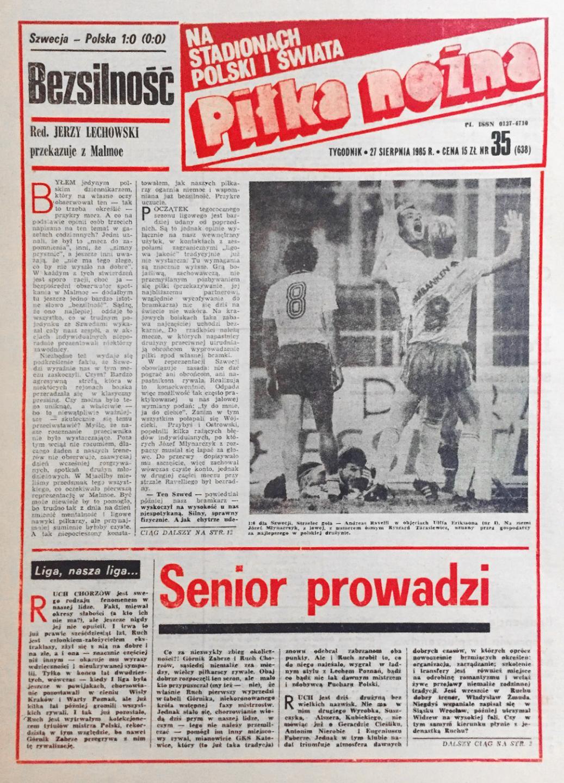 Okładka piłki nożnej po meczu szwecja - polska (21.08.1985)