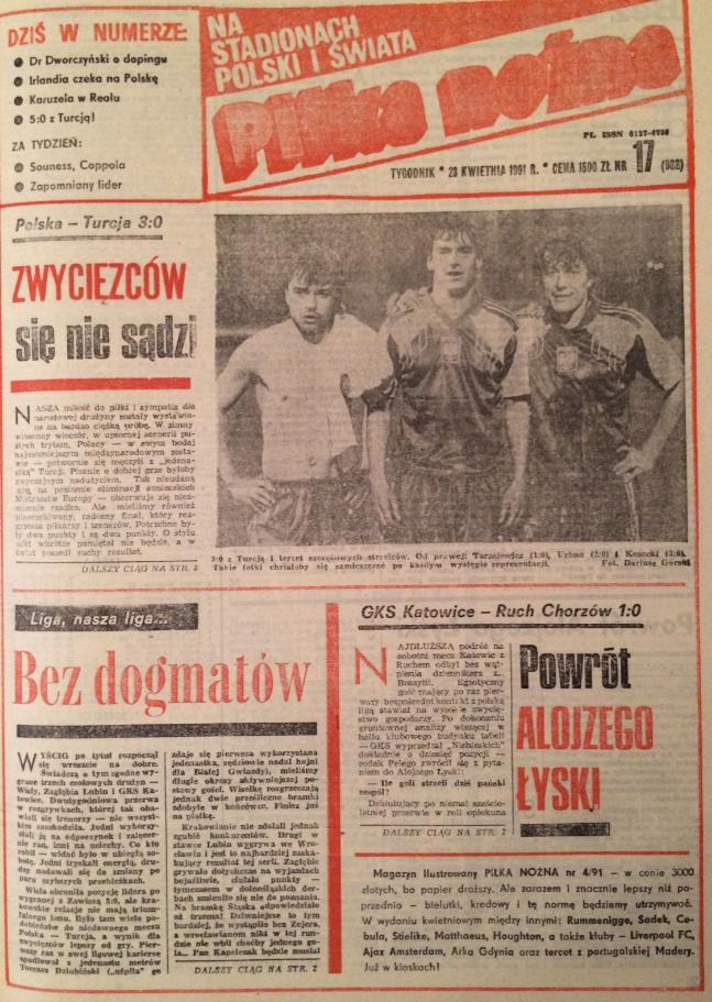 piłka nożna po meczu polska - turcja (17.04.1991)