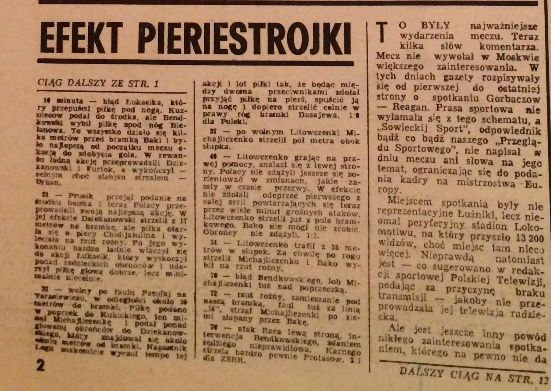 Piłka Nożna po meczu ZSRR - Polska 2:1 (01.06.1988)