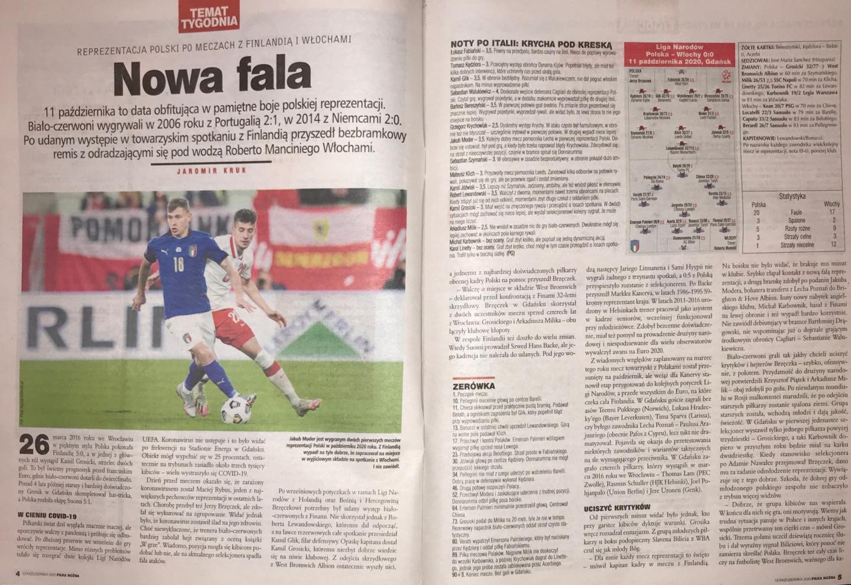 Piłka Nożna po meczach Polska - Finlandia 5:1 (07.10.2020) i Polska - Włochy 0:0 (11.10.2020)