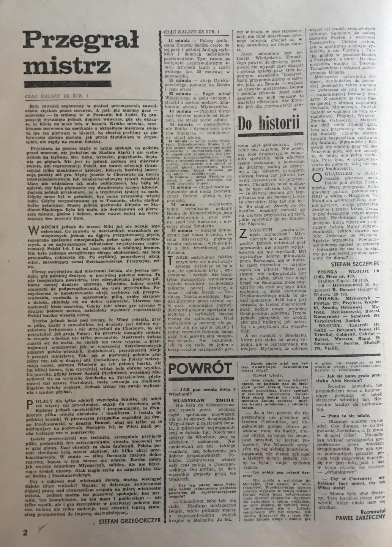 Piłka nożna po meczu Polska - Włochy 1:0 (16.11.1985) 2