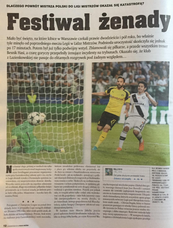 Legia Warszawa - Borussia Dortmund 0:6 (14.09.2016) Piłka Nożna