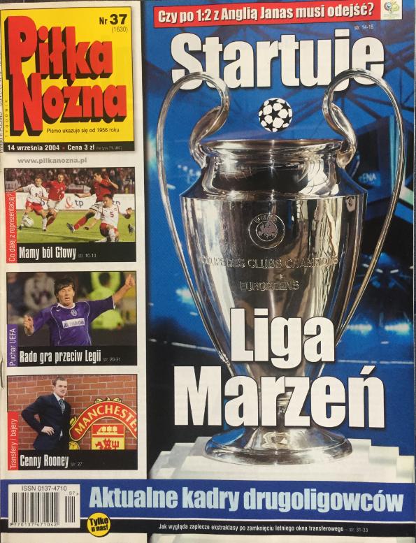 okładka piłki nożnej po meczu polska - anglia (08.09.2004)