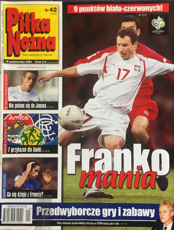okładka piłki nożnej po meczu walia - polska (13.10.2004)