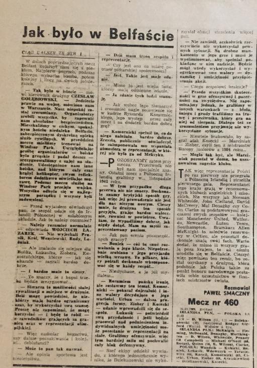 Piłka nożna po meczu irlandia płn. - Polska 1:1 (23.03.1988)