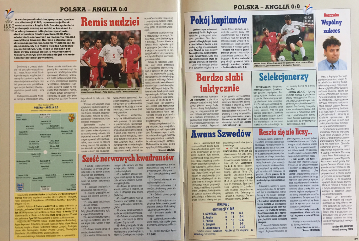 Piłka nożna po meczu polska - anglia (08.09.1999)