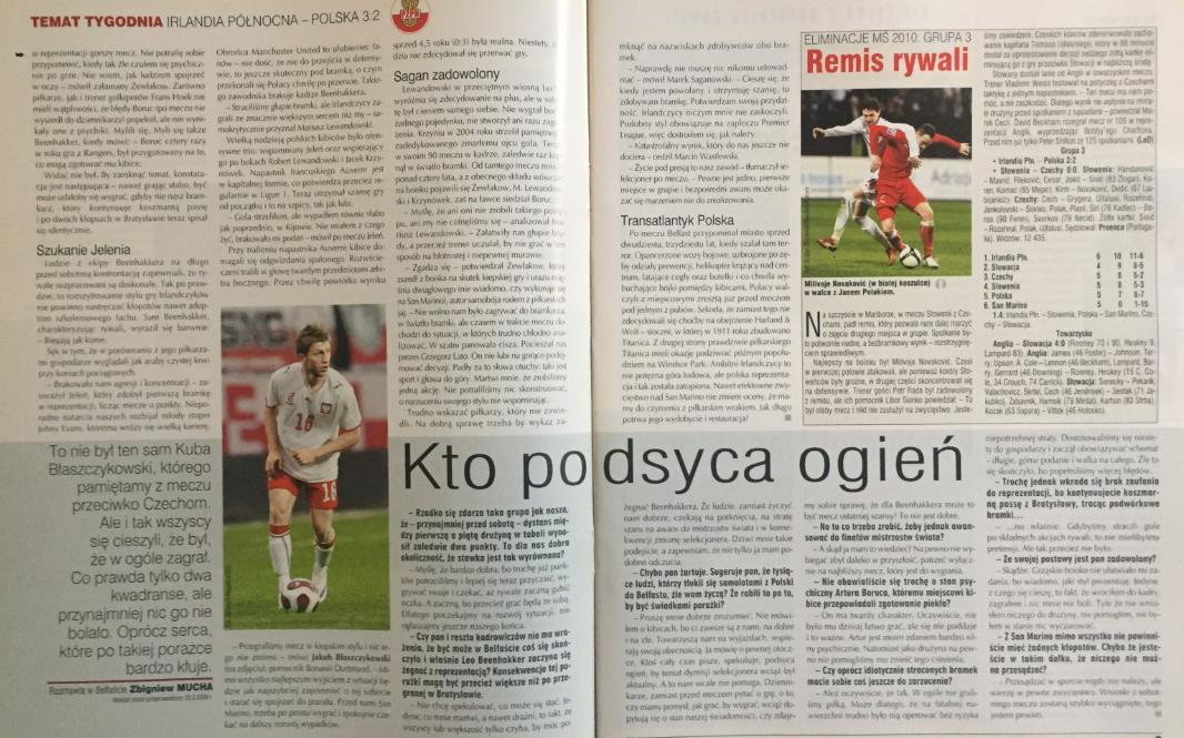 piłka nożna po meczu irlandia płn. - polska (28.03.2009)