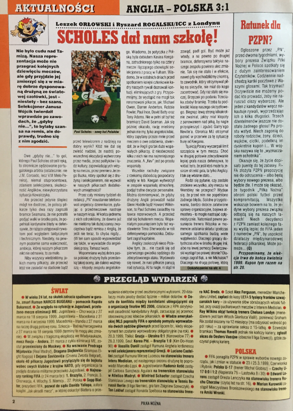 piłka nożna po meczu anglia - polska (27.03.1999)