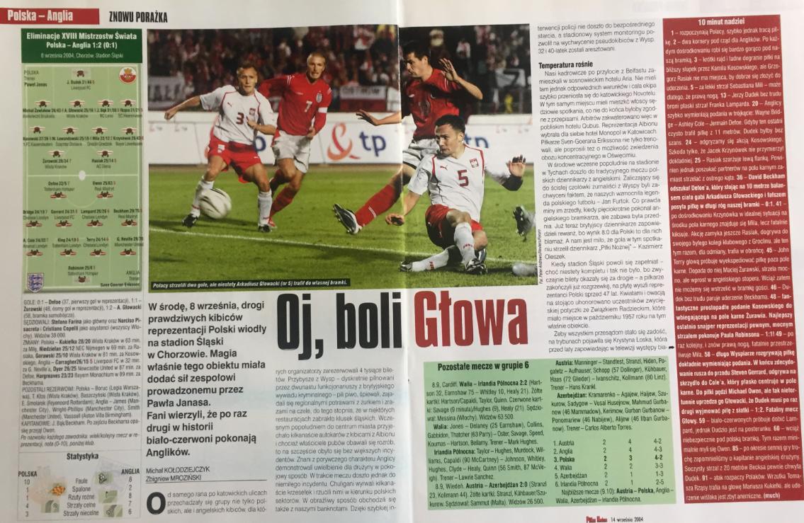 piłka nożna po meczu polska - anglia (08.09.2004)