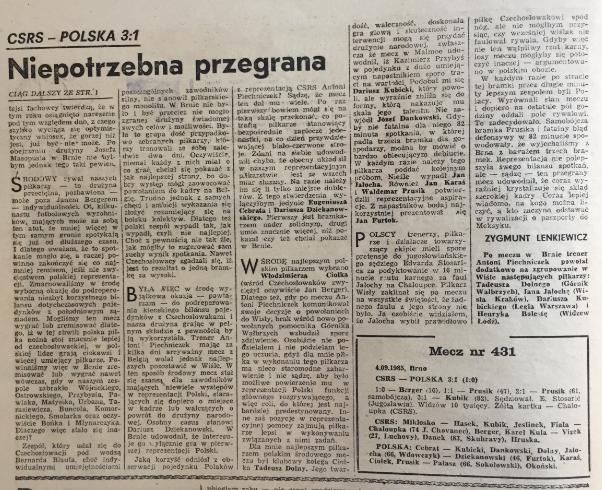 piłka nożna po meczu CSRS -Polska 3:1 (04.09.1985)