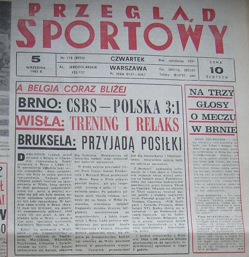 Okładka Przeglądu Sportowego Czechosłowacja - Polska 3:1 (04.09.1985)