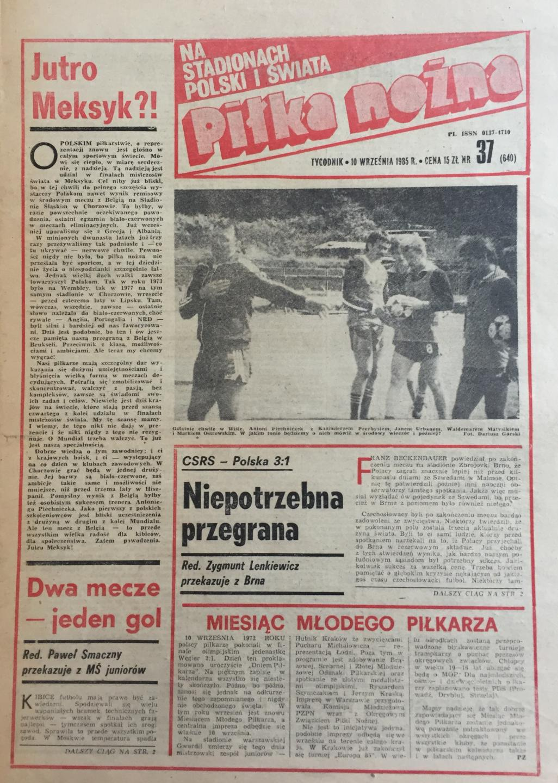 Okładka Piłki Nożnej Czechosłowacja - Polska 3:1 (04.09.1985)