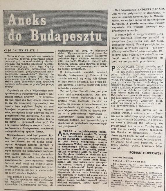 piłka nożna po meczu belgia - polska (02.04.1980)