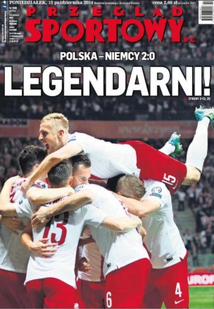 okładka przeglądu sportowego po meczu polska - niemcy (11.10.2014)