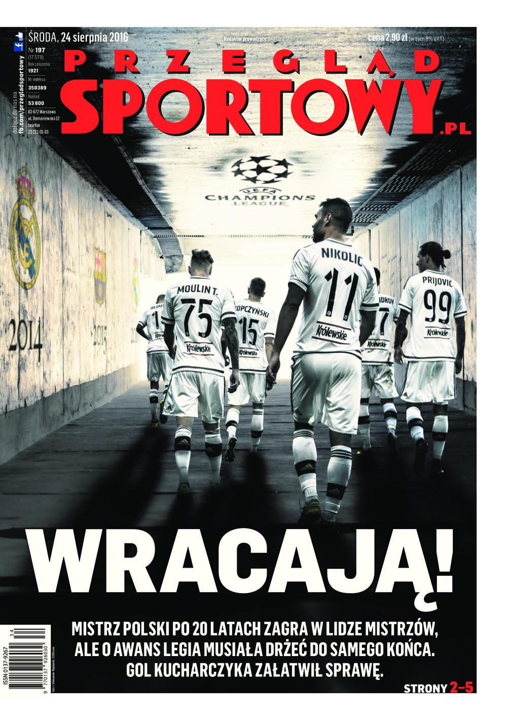 Okładka Przeglądu Sportowego po meczu Legia - Dundalk 1:1.