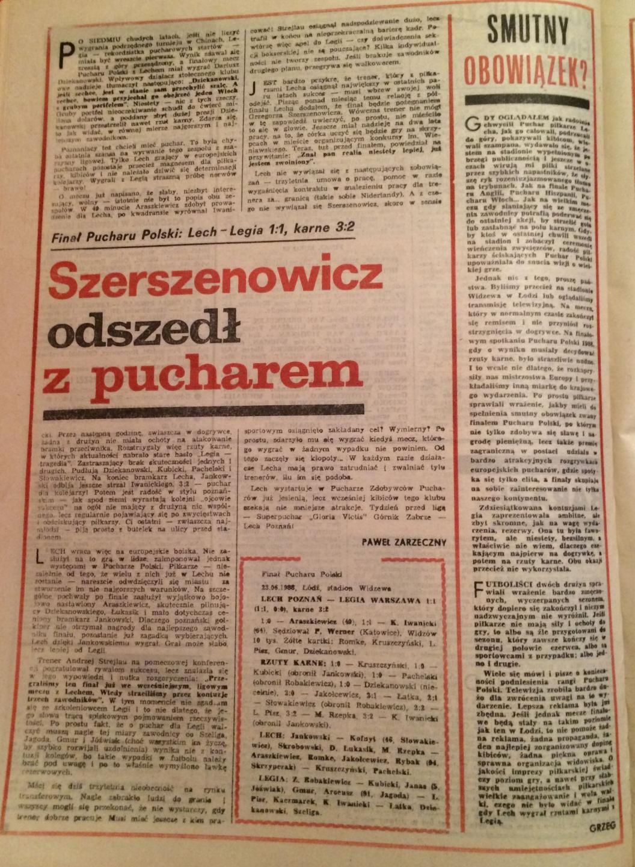 Piłka nożna po meczu PP Lech Poznań - Legia Warszawa 1:1, k. 3:2 (23.06.1988).