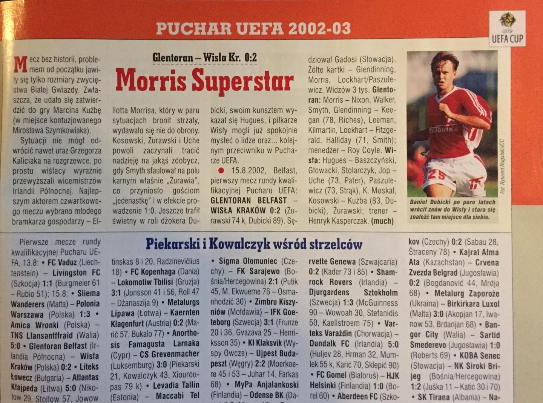 Glentoran FC - Wisła Kraków 0:2 (15.08.2002) Piłka Nożna