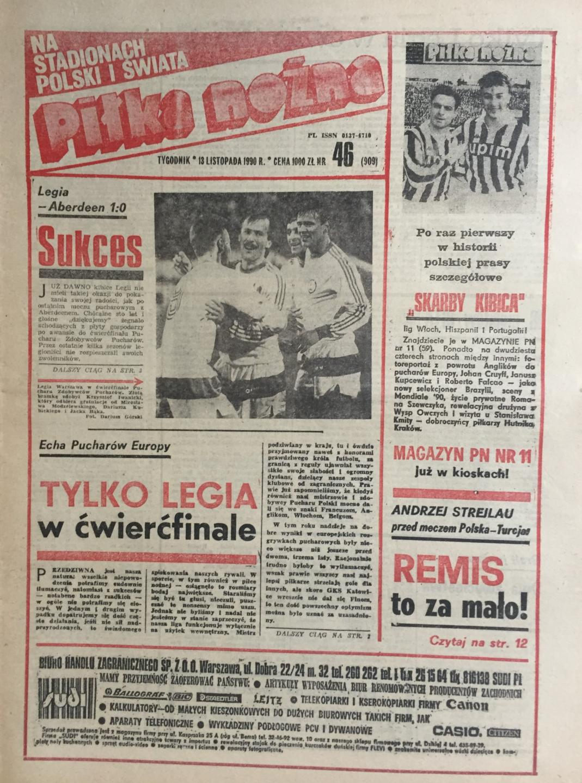 Okładka Piłki Nożnej po meczu Legia Warszawa - Aberdeen 1:0 (07.11.1990).