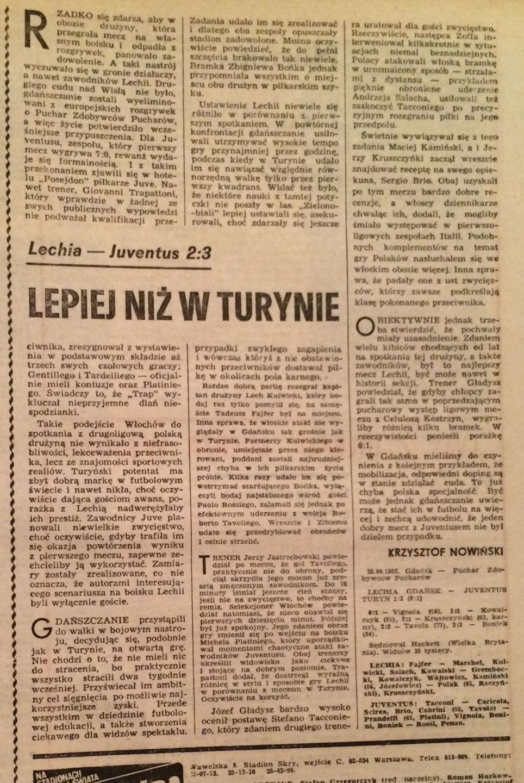 Piłka Nożna po Lechia - Juventus 2:3 (28.09.1983)