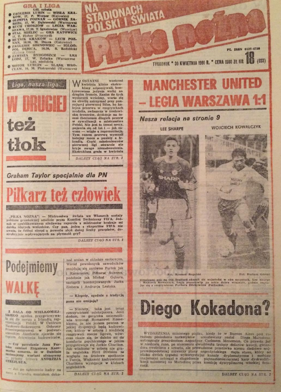 Manchester United - Legia Warszawa 1:1 (24.04.1991) Piłka Nożna