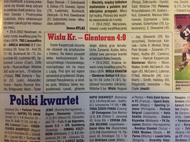 Wisła Kraków - Glentoran FC 4:0 (29.08.2002) Piłka Nożna