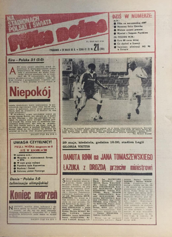 Okładka Piłka Nożna po meczu Irlandia - Polska 3:1 (22.05.1988).